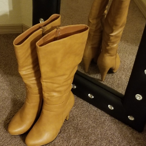 JustFab Shoes | Mustard In Color Boots
